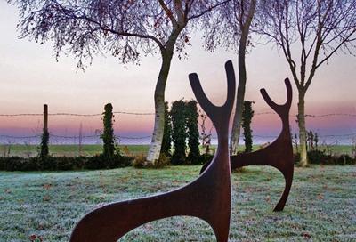 rusted steel / metal deer sculpture