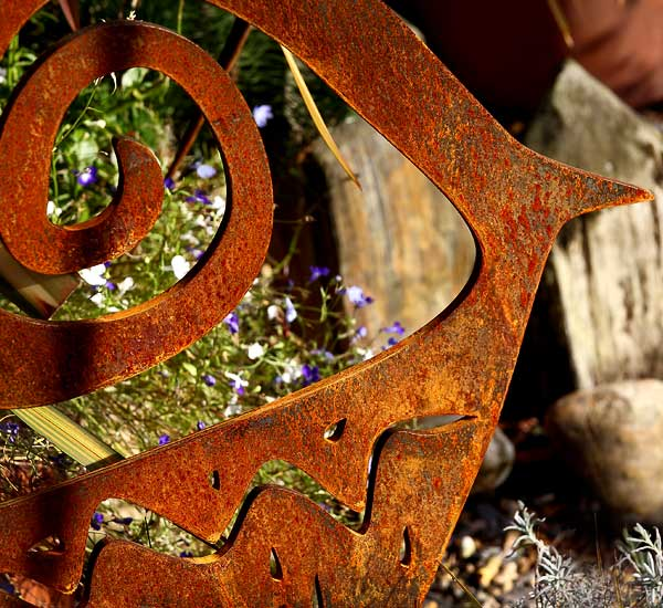 diCabra, garden - patio and garden sculpture made from rusted steel / metal