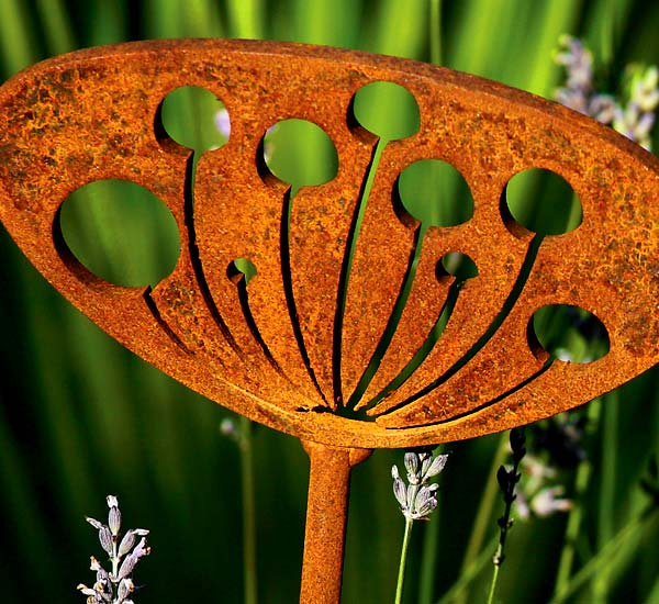 Seedhead, rusted steel / metal garden and patio sculpture
