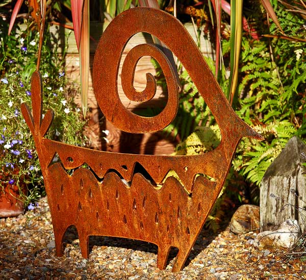 diCabra, rusted steel / metal garden sculpture, ideal for the patio.