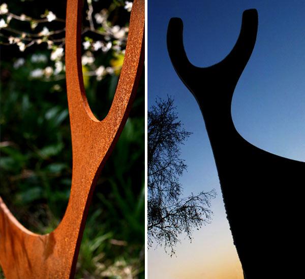 Rusted Steel Deer Garden Sculpture