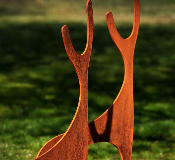 Rusted steel, metal deer garden sculptures