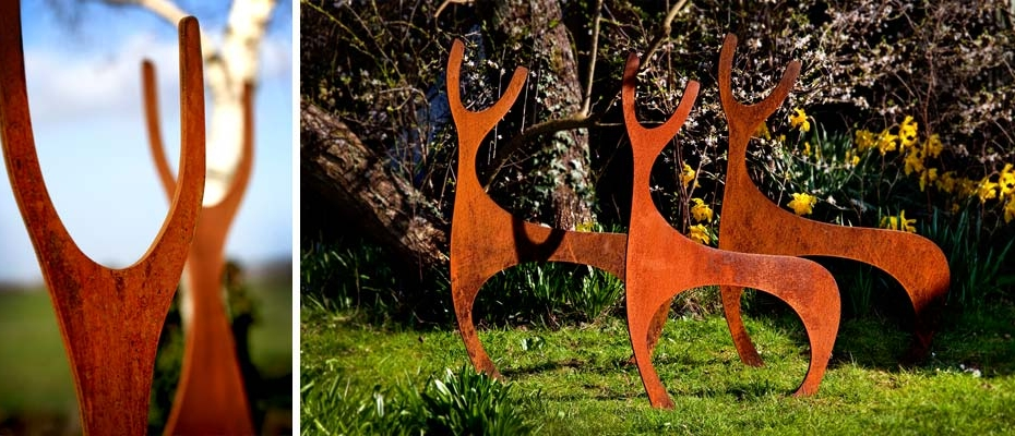 Rusted steel, metal deer garden sculptures
