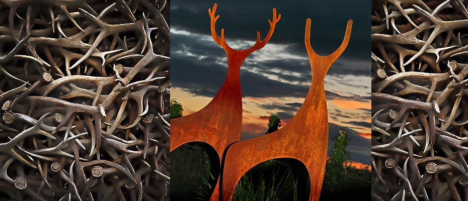 Rusted metal deer sculpture created by Garden Art and Sculpture