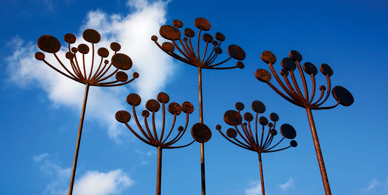 Cow parsely garden sculptures crafted from rusted metal