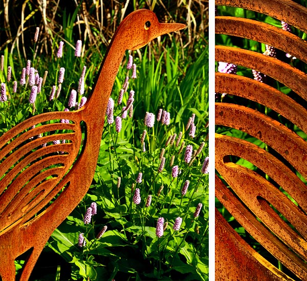 Bird sculptures for the garden crafted from rusted metal