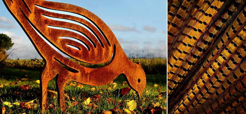Pheasant garden sculpture