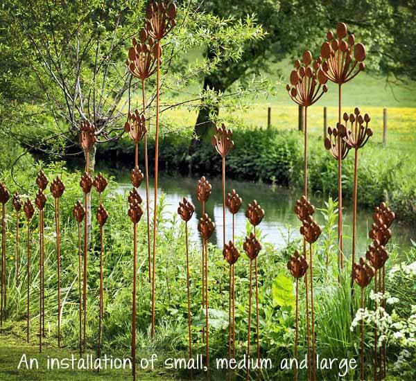Metal cow parsley garden sculpture by garden art and sculpture