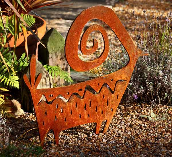 diCabra, rusted steel sculpture for the garden or patio