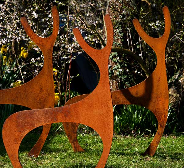 Rusted steel, metal deer garden sculpture