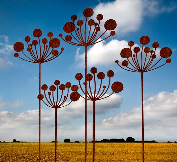 Cow Parsley, rusted metal garden sculptures