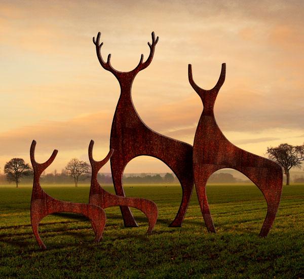 Deer Sculpture Rusted Metal Garden Sculptures