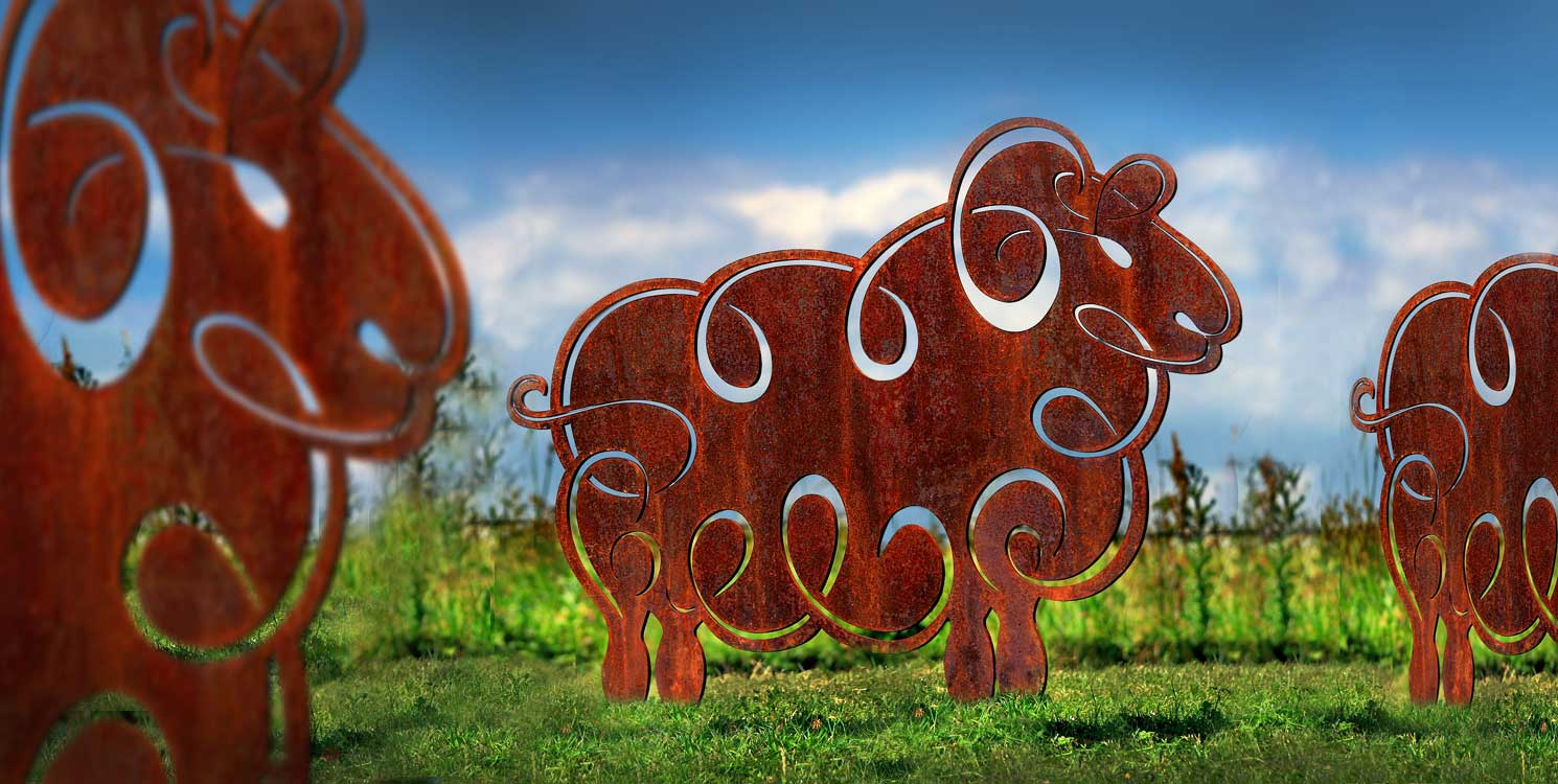 Stunning Sheep sculptures crafted from rusted metal, a great garden sculpture