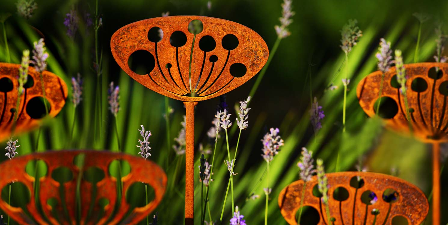 Garden sculpture inspired by the silhouette of cow parsley crafted by Garden Art and Sculpture
