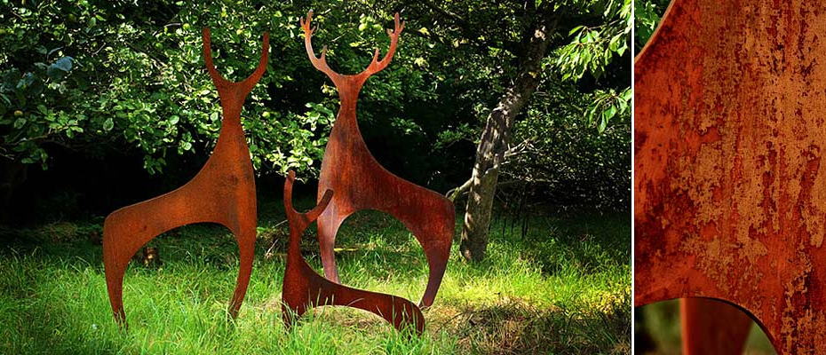 Rusted metal Deer sculptures for the garden