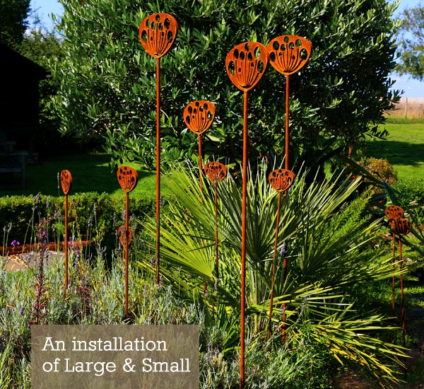 Large and Small seedhead garden sculpture