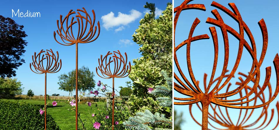 Rusted metal garden art and sculpture