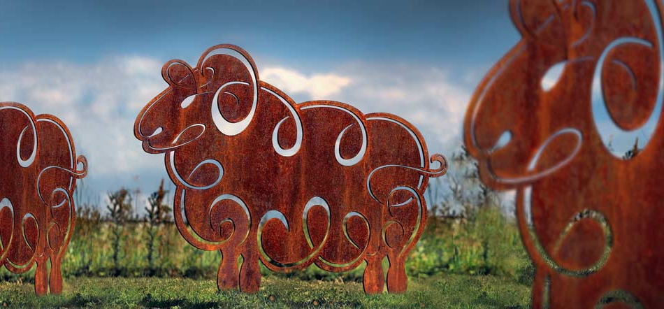 sheep sculpture - rusted metal garden sculptures