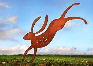 rusted metal hare garden sculpture