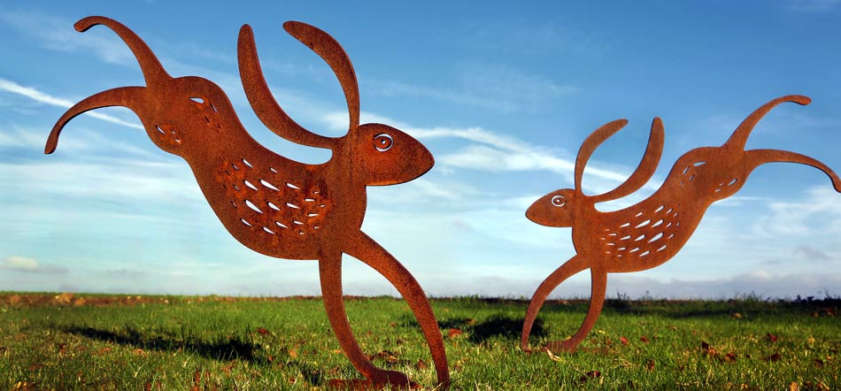 Rusty metal Hare sculpture for the garden
