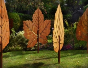 Metal leaf sculptures by garden art and sculpture