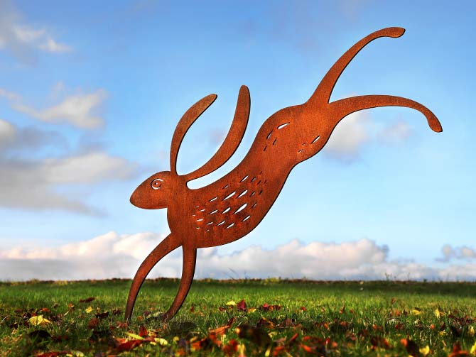 Garden sculpture crafted from rusted metal