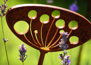 Rusted metal garden sculptures, great garden ornament, an ideal plant support based on the cow parsley