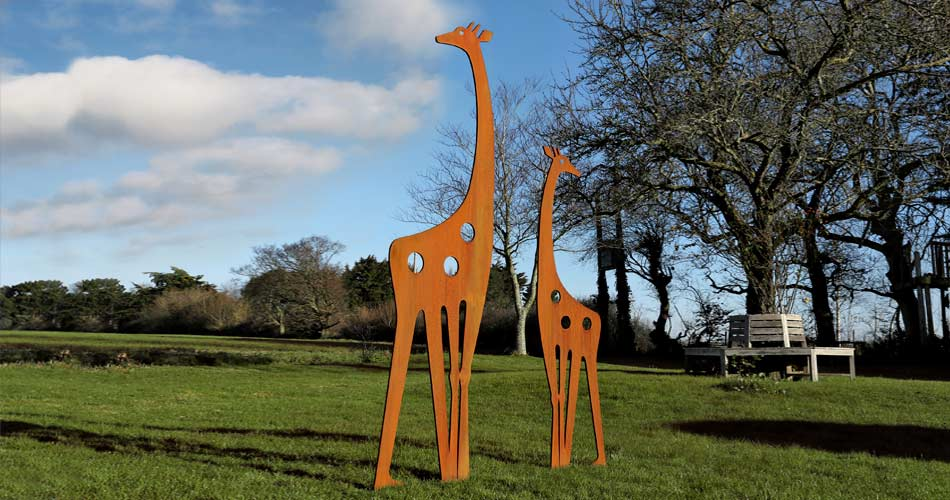 Contemporary garden art featuring a metal Giraffe design by Garden Art and Sculpture