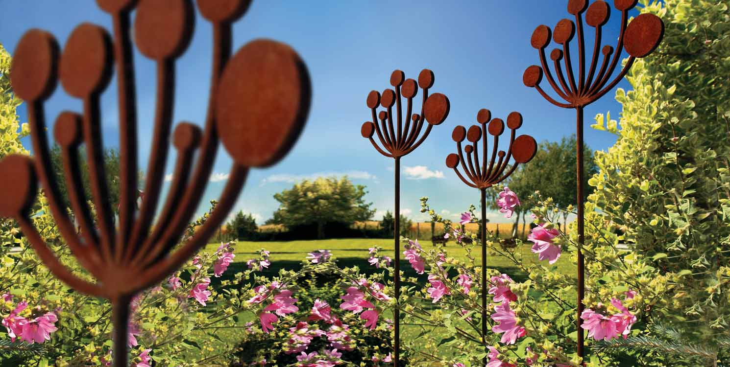 Contemporary garden sculptures and plant support based on the Cow Parsley by Garden Art and Sculpture
