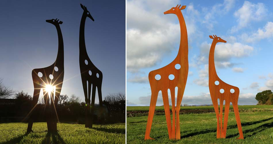 Contemporary metal garden sculptures featuring a Giraffe design by Garden Art and Sulpture