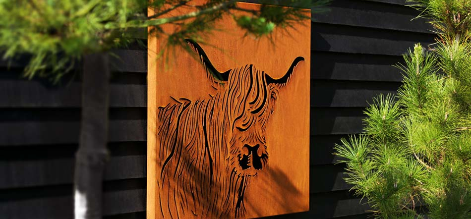 Metal CorTen wall art and garden screens with a cow parsley design by Garden Art and Sculpture