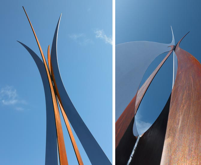 corten steel stainless steel garden art