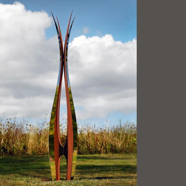 stainless steel and corten steel garden sculpture