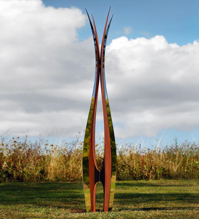 contemporary corten steel and stainless steel garden sculptures