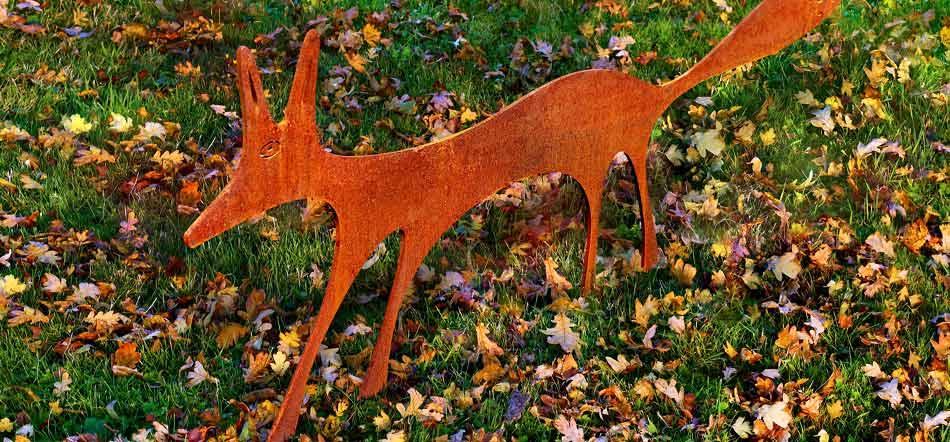 rusty metal fox sculpture by garden art and sculpture