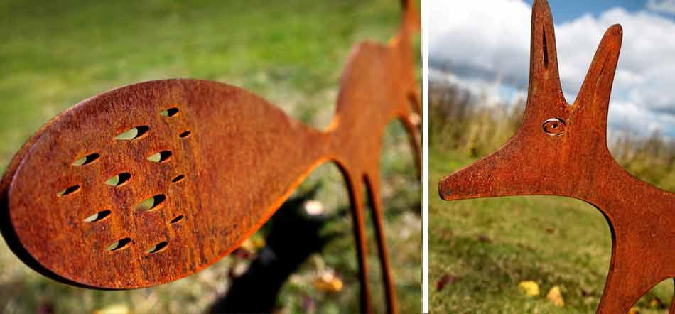 corten steel garden sculptures and garden art