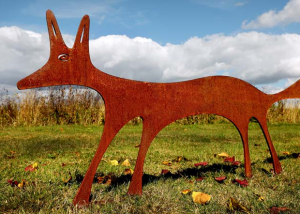 Fox sculpture - rusted metal garden sculpture - garden art