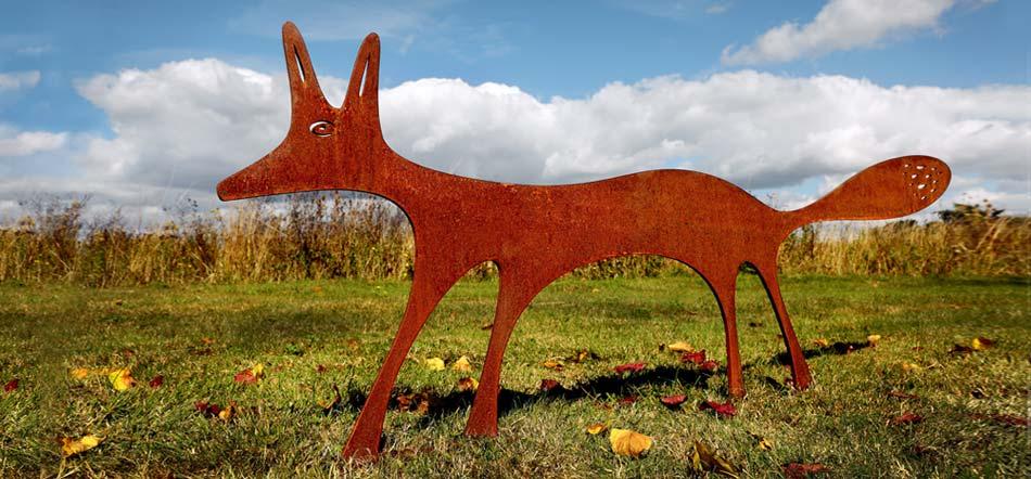 Fox sculpture - rusted metal garden sculpture - garden art