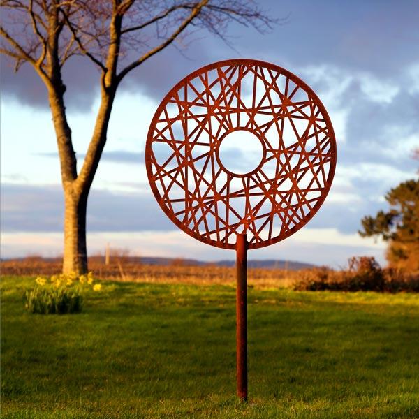 Contemporary rusted metal garden sculpture