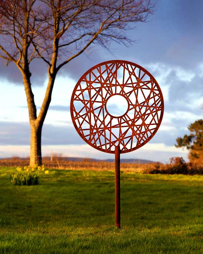 contemporary metal garden sculpture
