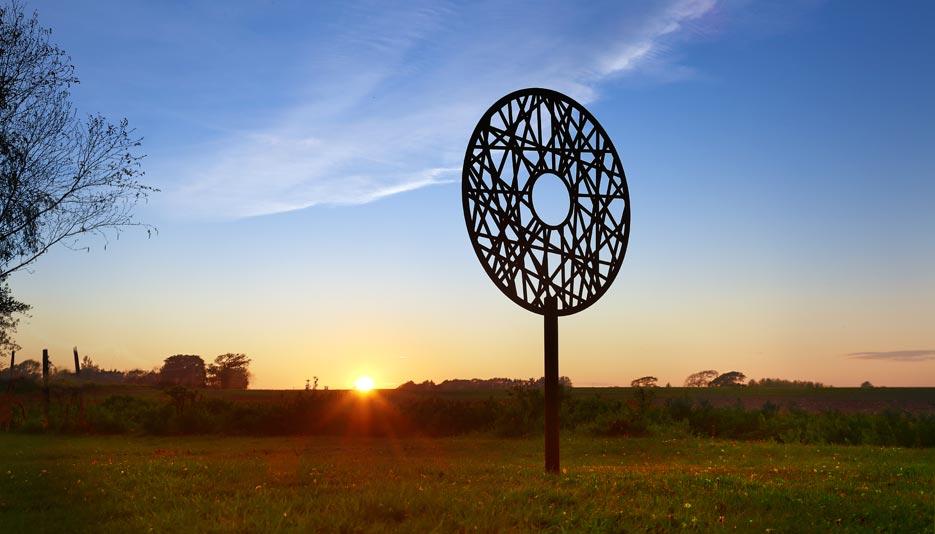 garden sctulpture created from rusted corten steel