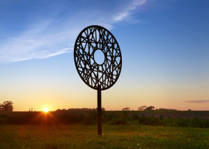 contempoary metal sculpture made from corten steel