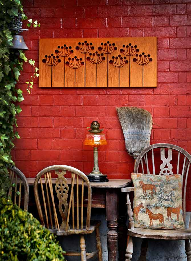 garden screen / wall art made rom corten steel with a rust finish